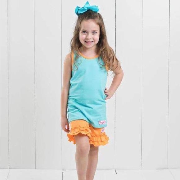 Ruffle Girl Other - Ruffle Girl Aqua Tank & Orange Ruffle Short Set